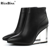womens shoes transparent wedges high heels ankle boots pointed toe high heels boots winter fashion black shoes woman size33-41