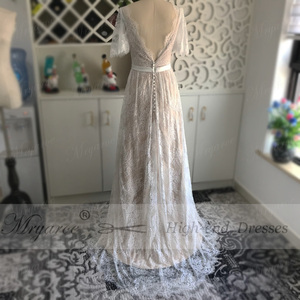 Image 4 - Mryarce nova chegada alargamento mangas rendas boêmio jardim vestido de casamento v pescoço a linha aberta voltar boho vestidos de noiva