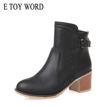 E TOY WORD Spring Autumn Women Boots Thick Fur ankle boots Woman High heels Women Shoes Size 40-43 Zip Buckle Women Snow Boots tasslynn 2018 women boots black ankle boots hoof high heels zipper spring autumn shoes fashion faux fur ladies boots size 34 40