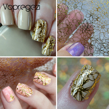 Vopregezi Reliëf 3D-nagelstickers voor nagels Bloem Nagelkunst Water Transfer Metallic stickers Nageltips Decoratie Water Decals