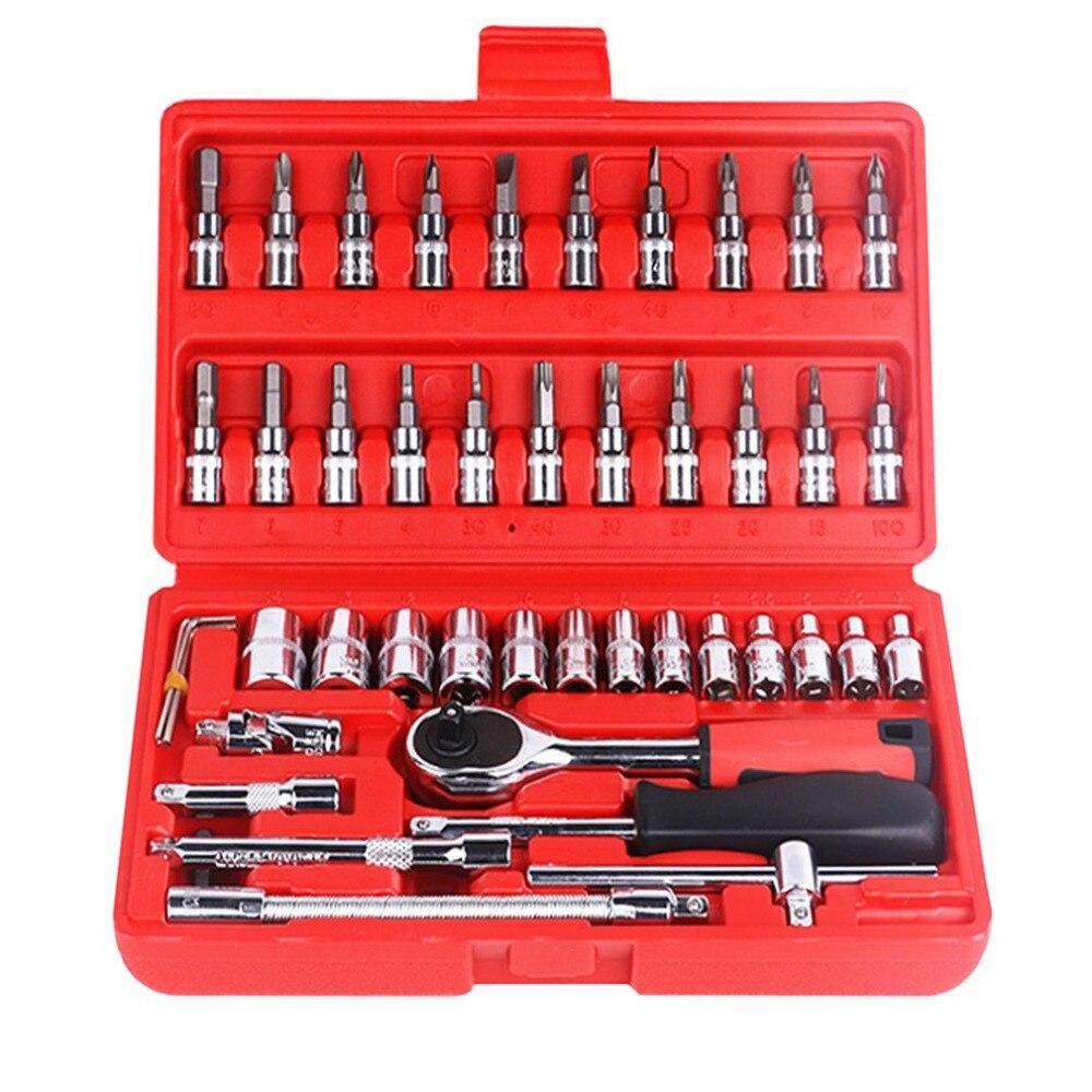 Professional 46 Pcs Combination Socket Set Ratchet Torque Wrench Auto Repair Hand Tools Auto Sleeve Combination Tool