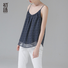 Toyouth Women Summer Tank Top Sexy Polka Dot Printed Backless Tank Fashion V Neck Chiffon Spaghetti Strap Loose Beach Tops