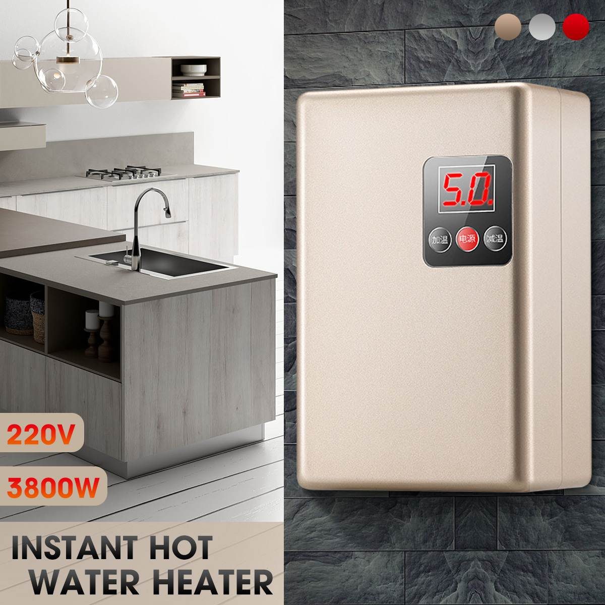 220V 3800W Shower Instant Water-Heater Tankless Water Heater Electric Heating Instant Hot Water for Kitchen and Bathroom(China)