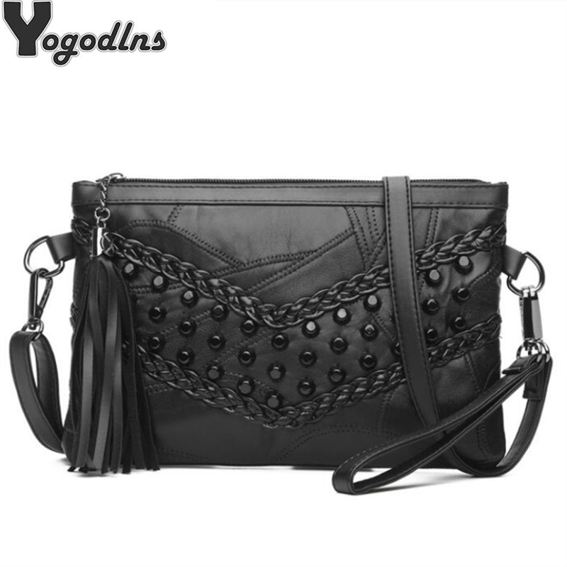 Retro Rivet Envelope Shoulder Bags For Women Small Messenger Bag Genuine Leather Lady Crossbody Bag Black Handbag Clutch Purse