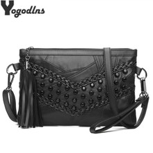 Retro Rivet Envelope Shoulder Bags for Women Small Messenger Bag Genuine Leather Lady Crossbody Bag Black Handbag Clutch Purse(China)