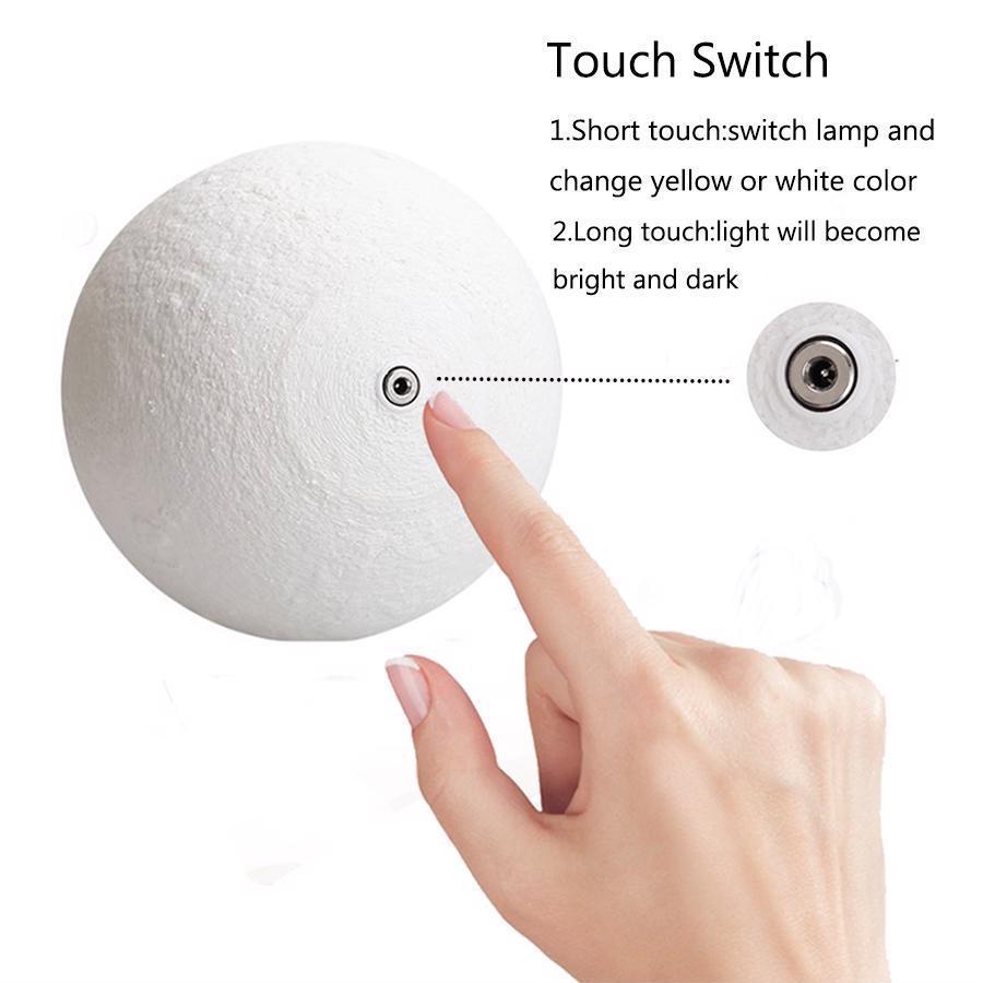 Image 2 - 3D 印刷月ランプ充電式夜の光の Rgb 色変更タッチスイッチ寝室 3D 月面月ランプホームデコレーションクリエイティブギフト    グループ上の ライト