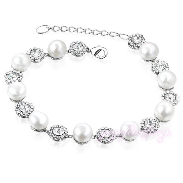 Mytys White Pearl Crystal Chain Bracelet  White Gold Plated Bridal Jewerly B818