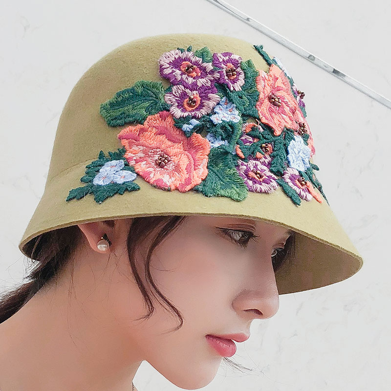 3bb722593f6 SUOGRY New Winter Hats For Women Fedoras Wool Felt Hats Ladies Vintage  Floral Embroidery Green Bowler Hat Autumn Dome Bucket Cap-in Fedoras from  Apparel ...