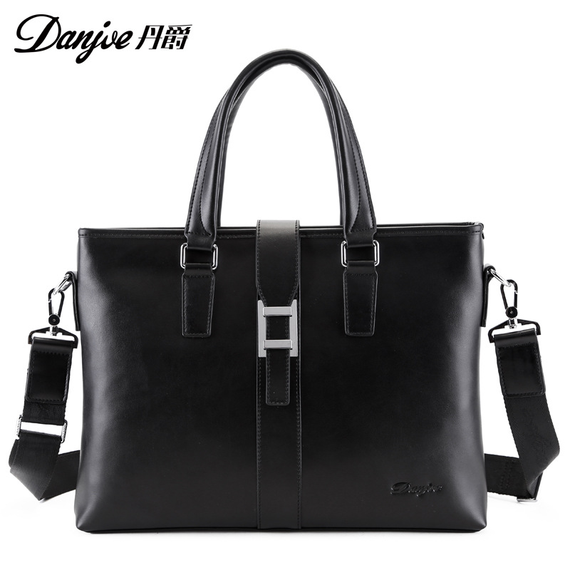 DANJUE Men Handbags Weave Pattern Computer Bag Man Soft Leather Genuine Leather Male Briefcase Trendy Black Laptop Tote danjue men handbags weave pattern computer bag man soft leather genuine leather male briefcase trendy black laptop tote