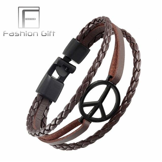 Fgifter Punk World Peace Bracelet Brown Leather Black Cuff Bracelets Bangles Men Women Jewelry