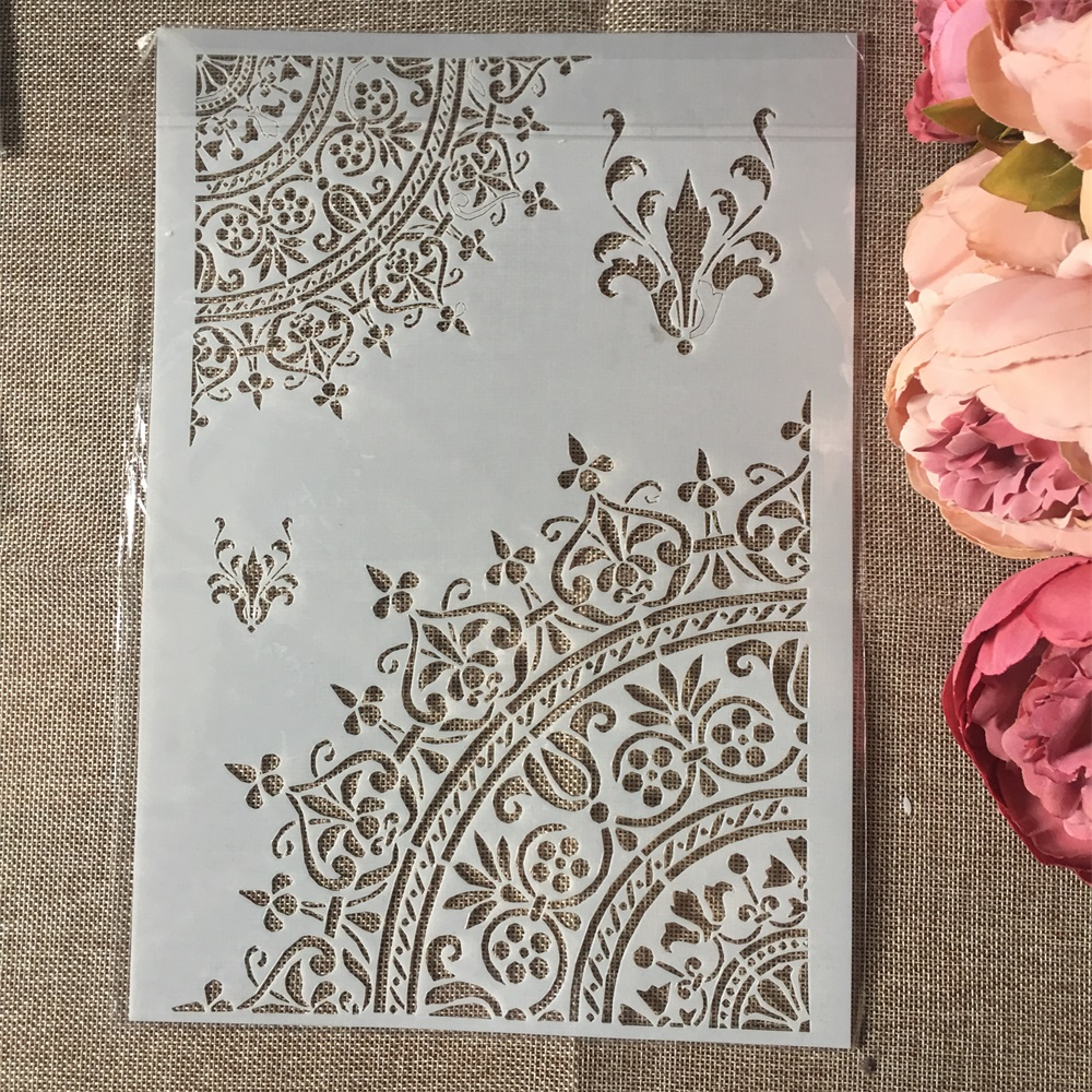1Pcs A4 Flower Half Circle DIY Layering Stencils Wall Painting Scrapbook Coloring Embossing Album Decorative Paper Card Template