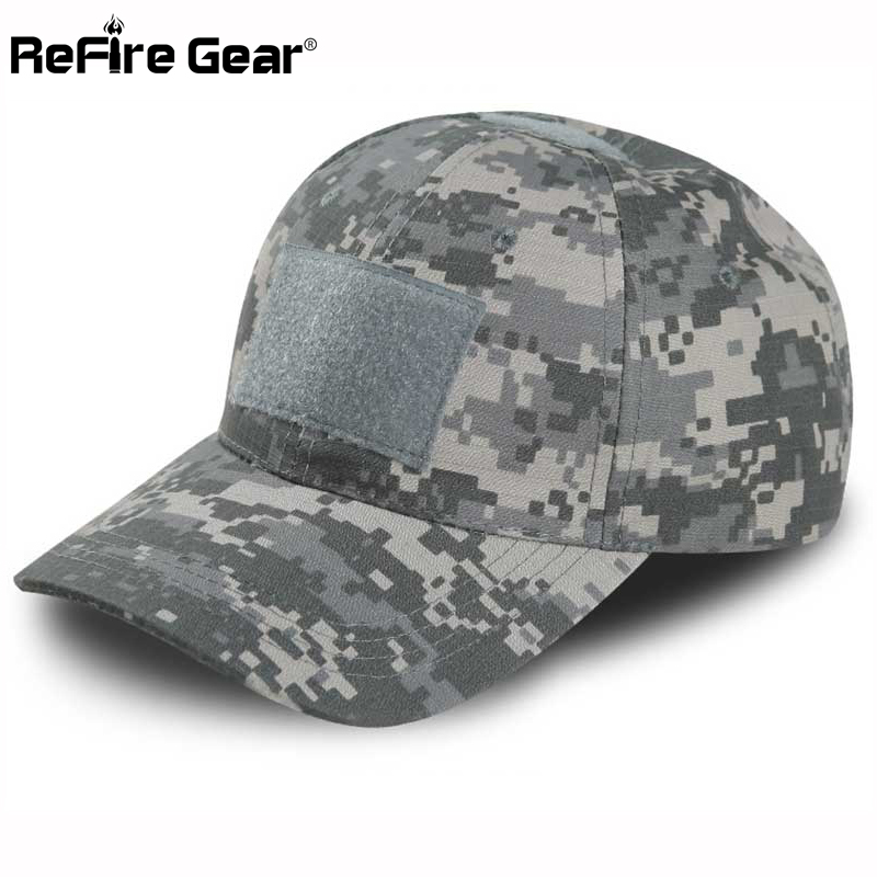 ReFire Gear Tactical Snapback Camouflage Hat US Army Tactical Baseball Cap  Men Casual Rip Stop Adjustable 5ef9aab359