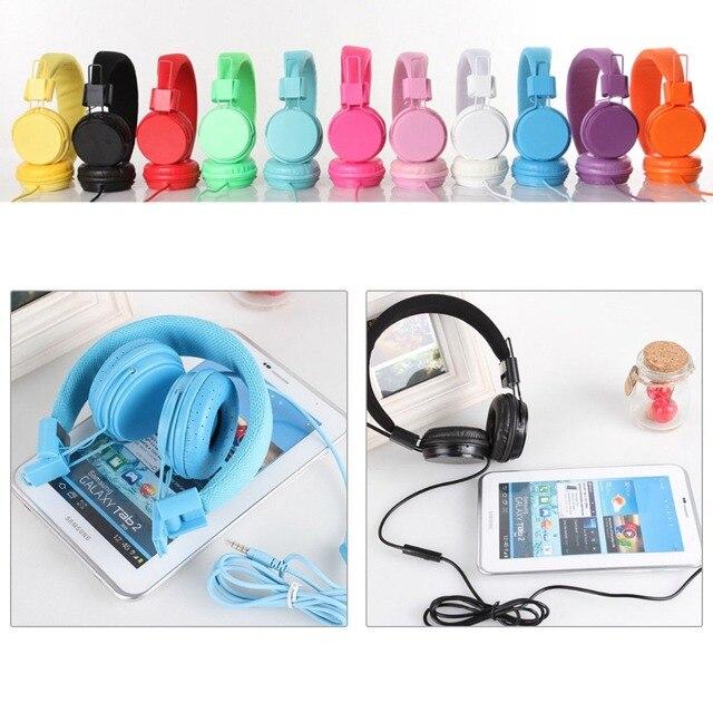 Складные наушники со встроенным микрофоном, детская гарнитура вкладыш, проводной шнур, стерео наушники из искусственной кожи для ipad, планшета, MP3
