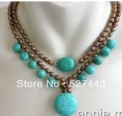 Wholesale free shipping >>Genuine 2 rows brown pearl turquoise pendant necklace