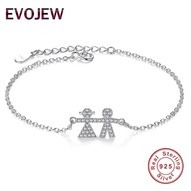 Evojew New Mom Bracelet 925 Sterling Silver Link Chain Bracelets For Daughter Children Boy Luxury Charm