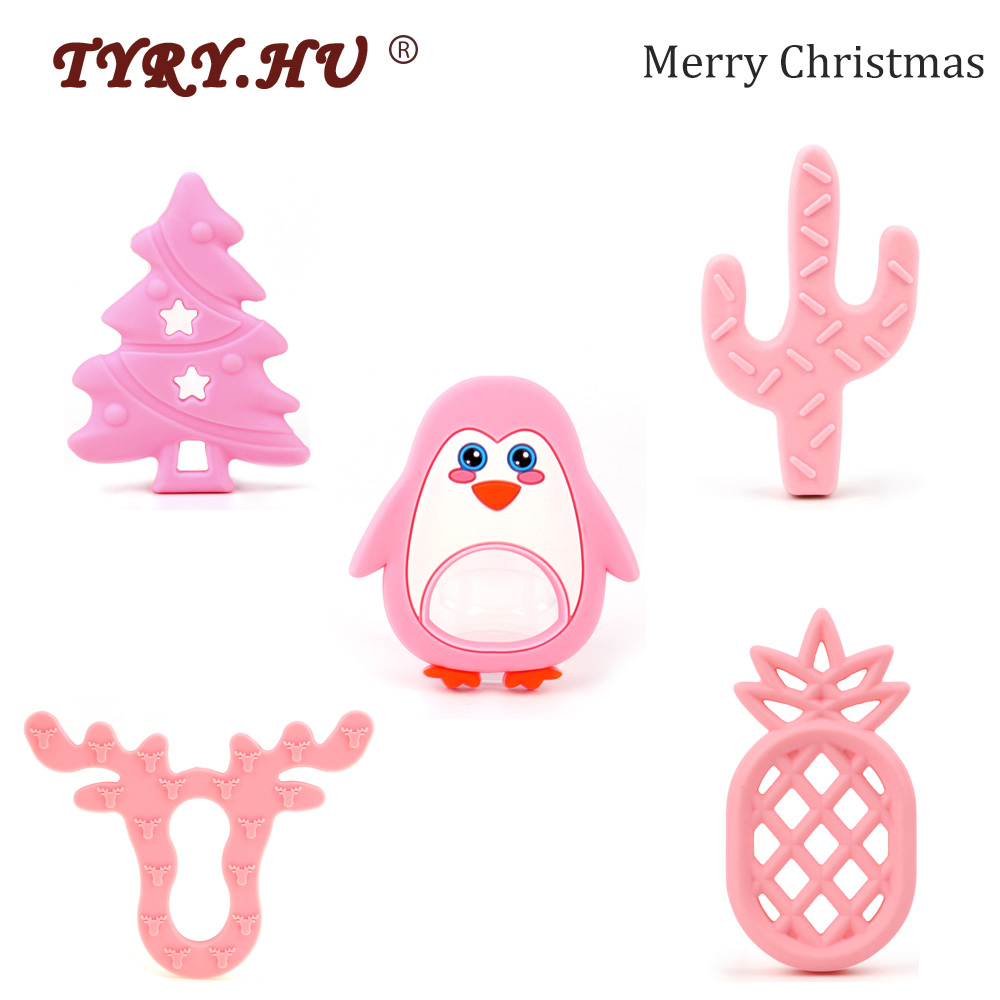 TYRY.HU 1pcs Christmas Tree Cartoon Teether Animal Silicone Rodent Food Grade Baby Teething Toys For Mother DIY Pendant Necklace