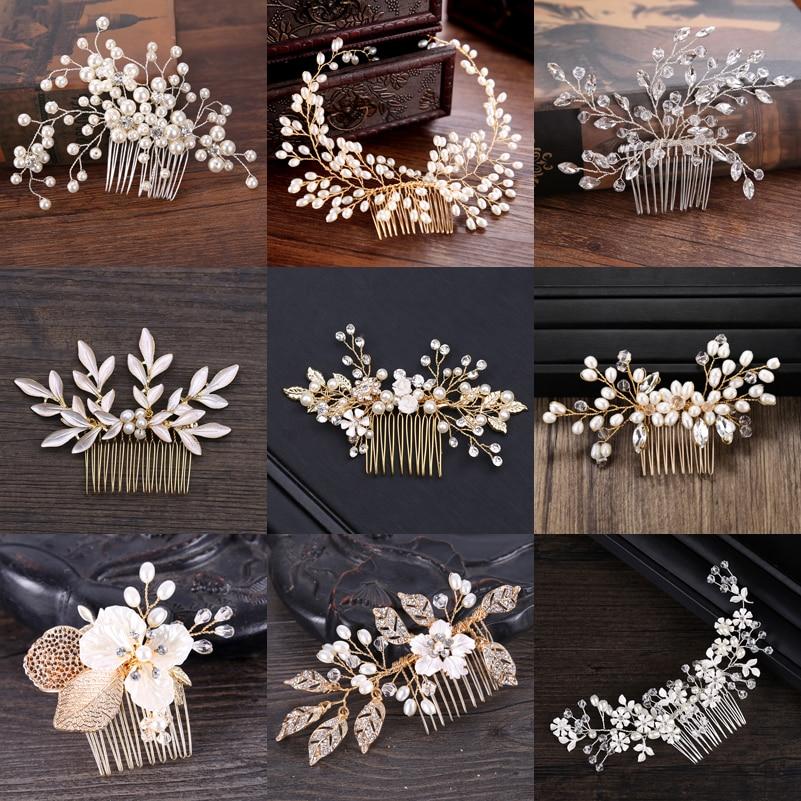Bridal Pearl Hair Comb Wedding Accessories Rhinestone Flower Wedding Hair Comb Jewelry Wedding Hair Ornaments Bridal Headdress