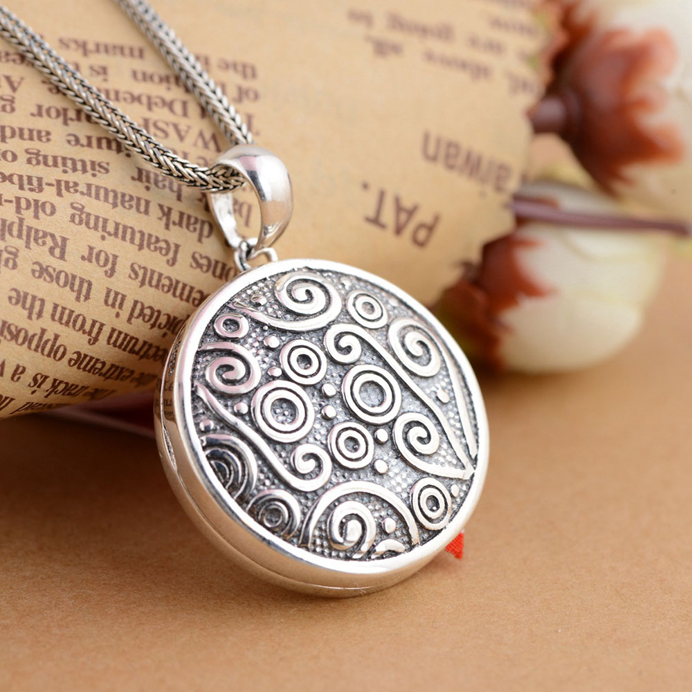 FNJ 925 Silver Round Pendant Gawu Box 100% Pure S925 Solid Thai Silver Pendants for Women Men Jewelry Making
