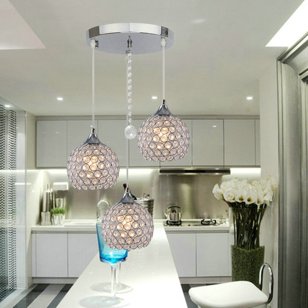 MAMEI Free Shipping 3 Lights Modern Crystal Ball Pendant