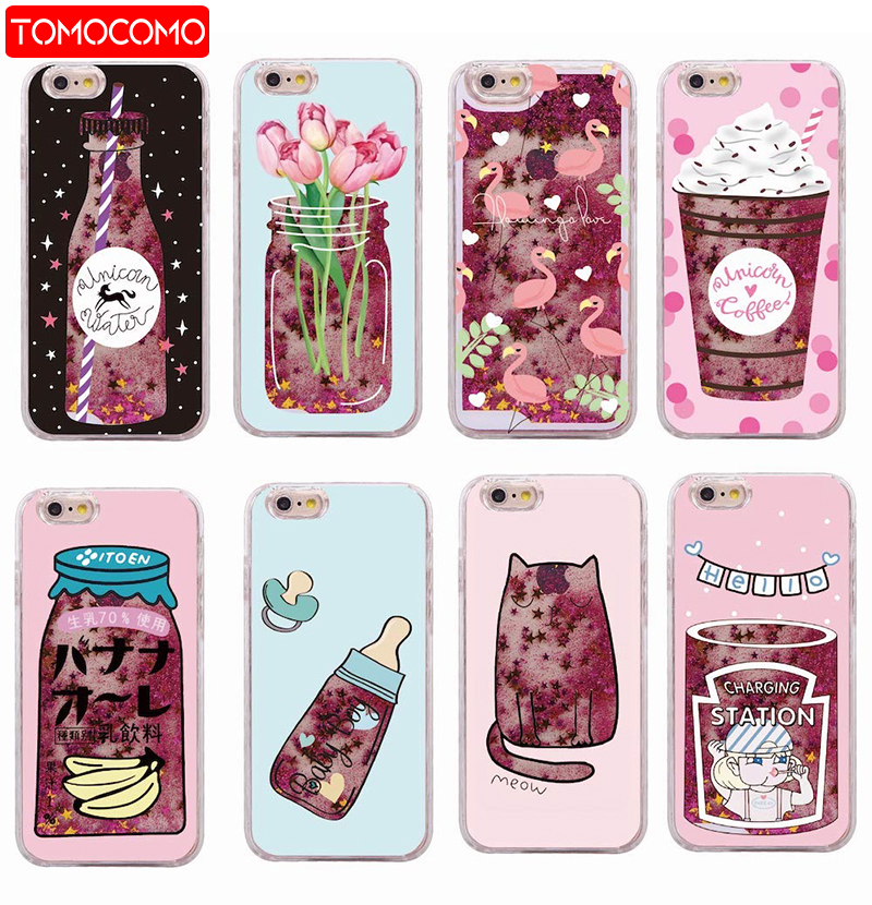 san francisco ffa67 21f2b TOMOCOMO Glitter Liquid Summer Unicorn Coffee Milk Bottle Flamingo Ice  Cream Hard Case For iPhone 7 7Plus 6 6S XS Max 8 8Plus X