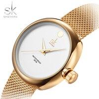Shengke Top Brand Stainless Steel Mesh Women S Watches Luxury Gold Watch Women Watches Fashion Ladies