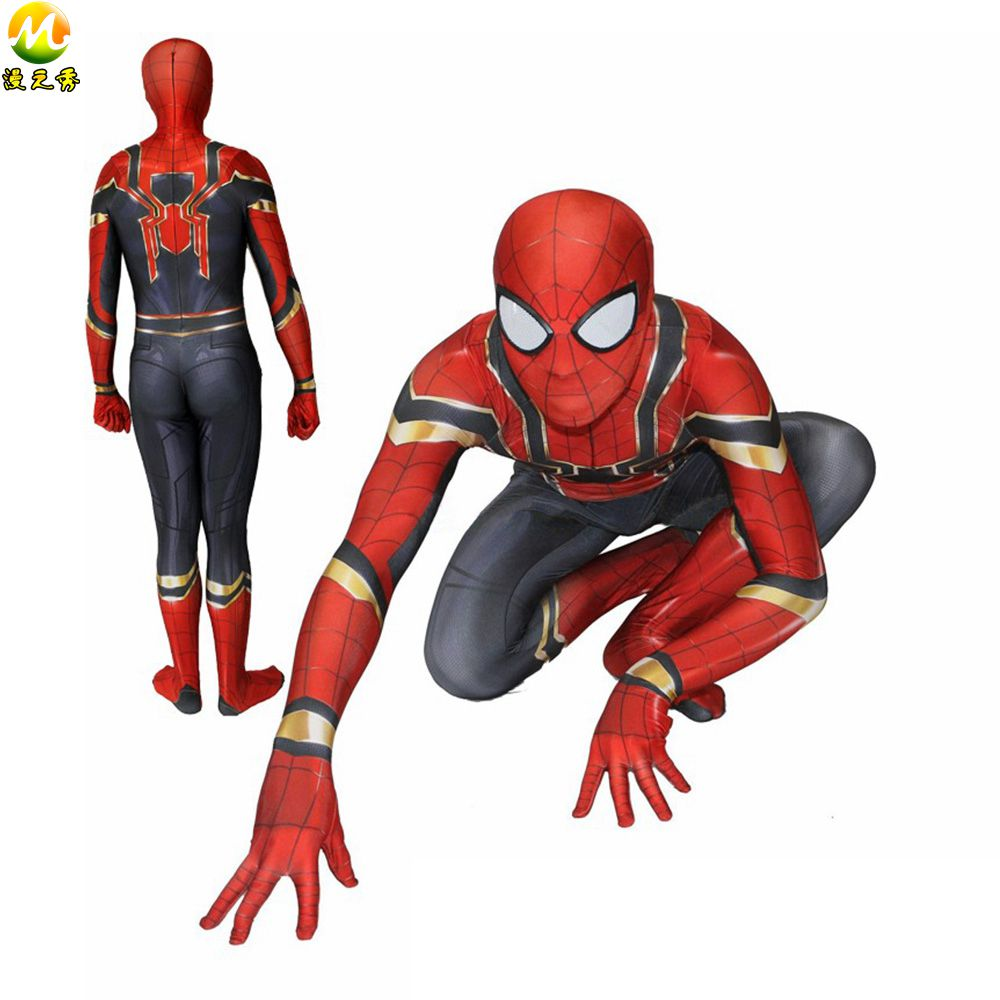 Avengers Infinity War Spiderman Cosplay Costume Homecoming Spider-Man Peter Park Jumpsuit Infinity War Costume For Halloween
