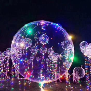 5 takım/grup 18 Inç Açık Lateks Balon Ile Led Şerit 3 M Bakır Tel Işık Led Için Düğün Süslemeleri Parti malzemeleri