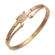 Gold Plated Stainless Steel Bracelets & Bangles Pulseiras Screw Bracelet Women Eternal Love Nail Pulseira Feminina Bangle