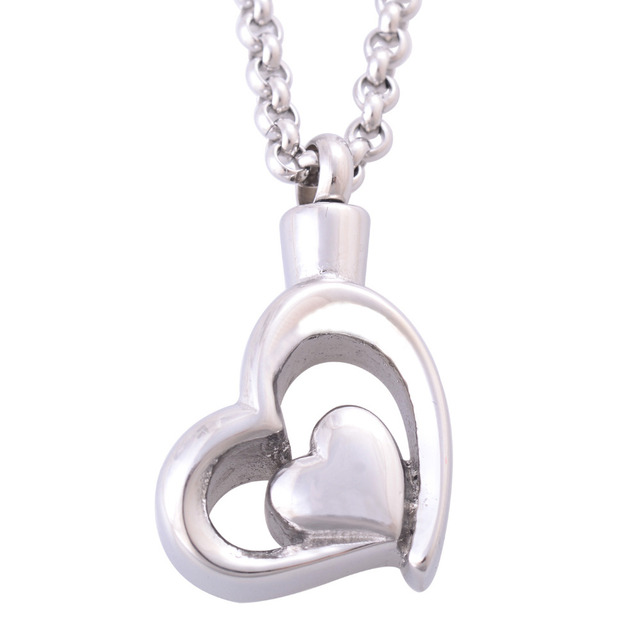 Double Heart Urn Necklace