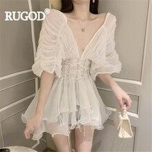 RUGOD, женская блузка, сетка, v-образный вырез, рукав летучая мышь, оборки, длинная рубашка, открытая спина, сексуальная, элегантная,, Новое поступление, модные, женские, вечерние, Топ