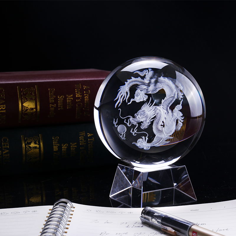 100mm 1PC 3D Laser Engraved Dragon Crystal Ball Feng Shui Globe Glass Ball Ornaments For Gifts