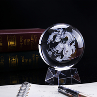 100mm 1PC 3D Laser Engraved Dragon Crystal Ball Feng Shui Globe Glass Ball Ornaments For Gifts Home Decoration Accessories