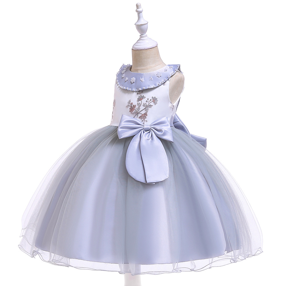 Sleeveless   Flower     Girl     Dresses   For Wedding 2019 First Communion   dresses   Evening Party Gowns with Bow Back