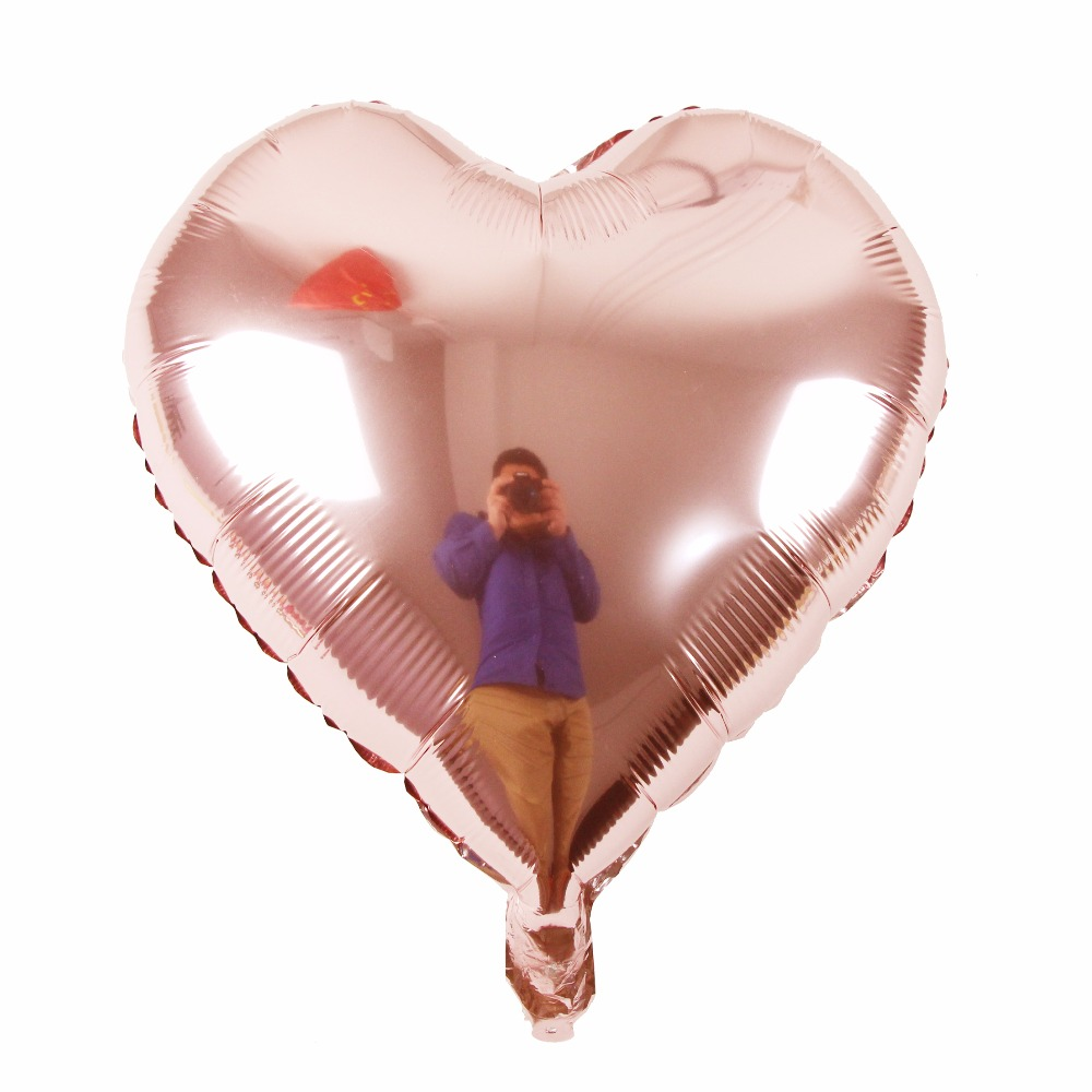 18inch Rose Gold Heart Foil Balloons Wedding Decoration for wedding Happy Birthday Party Decoration Wedding Party Favors in Ballons Accessories from Home Garden