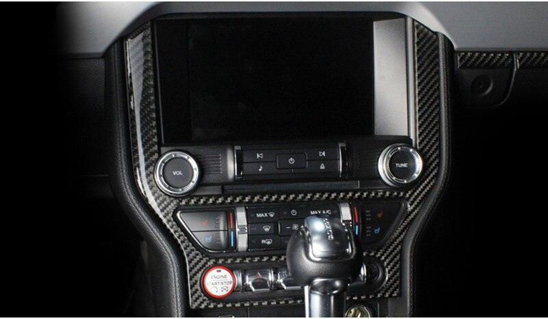 炭素繊維車のコンソールフレームのステッカーフォードマスタング 2015 2017 カーセンター制御パネル AC CD カバー車スタイリング  グループ上の 自動車 &バイク からの 車のステッカー の中 1
