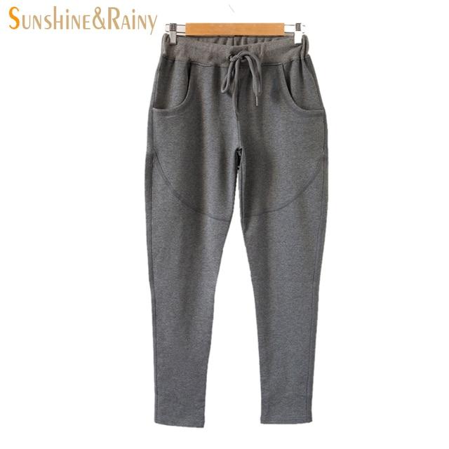 Плюс размер удобрений хлопок женщины брюки Корейский твердые повседневная шнуровкой карандаш брюки женщины мягкая большой ярдов pantalon femme7xl