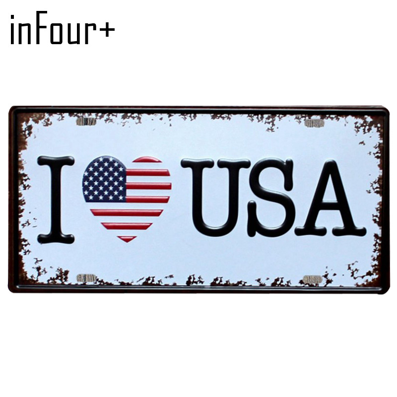 [inFour+] I Love USA Plate Metal Plate Car Number Tin Sign Bar Pub Cafe Home Decor Metal Sign Garage Painting Plaques Signs