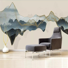 Abstract landscape background wall gold line decorative mural professional custom photo wallpaper