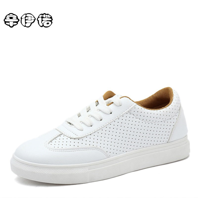 Tenis Zapatos De Mujer Free Shipping 2017 Spring New Fashion Women Shoes Flats Casual Sport Breathable Pu White Platform Brand