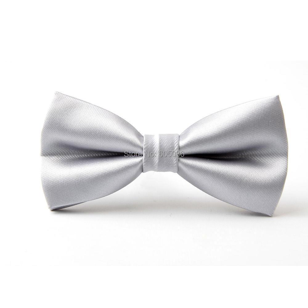 HOOYI Solid Silver Bow Tie Butterfly Ties For Men Pretied Necktie 2019