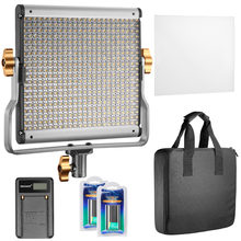 Neewer Dimmable Bi-color 480 LED Video Light CRI 96+ 3200-5600K with U Bracket+2 Pieces Rechargeable Li-ion Battery for DSLR(China)
