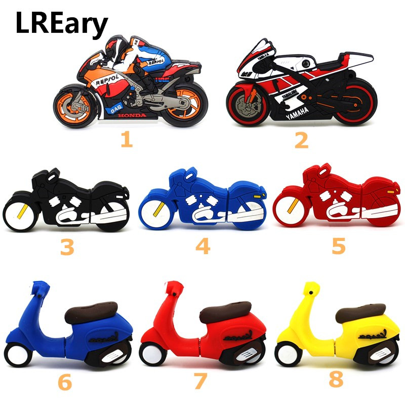 Cartoon Racing Motorcycle Usb Flash Drive 64gb 32gb 16gb Memory Stick Motorbike Pen Drive 4gb 8gb Lovely Gift Pendrive Scooter