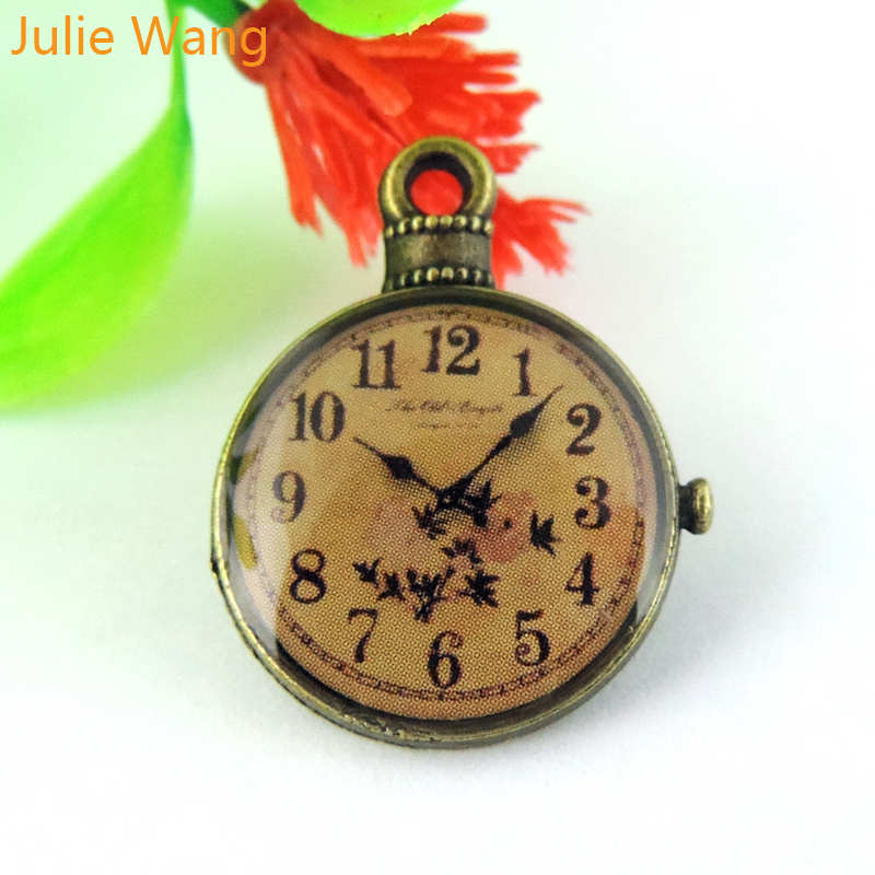 Julie Wang 5/10/20PCS Clocks Pocket Watch Charms Antique Bronze Alloy Pendants Necklace Jewelry Making Accessory Suspension