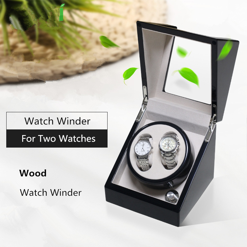 New 2 Slots Wood Watch Winder Black Automantic Mechanical Watch Shaker Mens Watch Storage Box Fashion Wooden Gift Boxes W084
