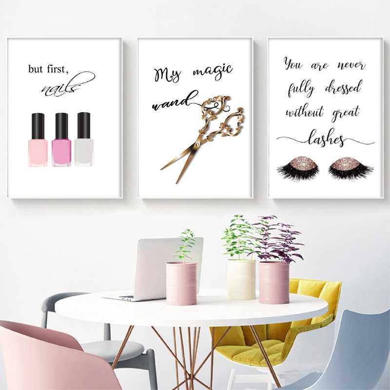 Makeup Quote Posters Nail Polish Lashes Prints Canvas Painting Wall Pictures For Girl Lady Dressing Room Salon Art Decor