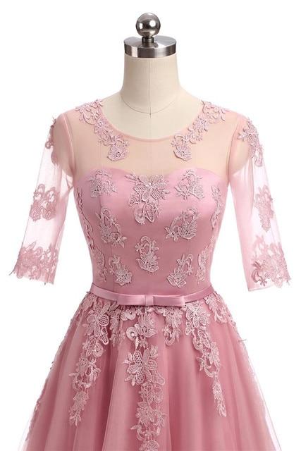 Half Sleeve Floor Length Tulle Lace Bridesmaid Dress 6