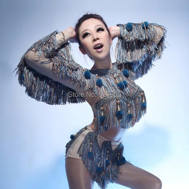 2016 новый сексуальный женщины синий кисточкой трех частей набор женский певица dj ds ведущий костюм танец износа боди ночной клуб одежда набор