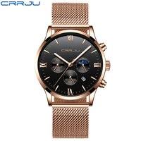 Nova banda de malha de aço confortável dos homens relógios tempo e 24 horas relógio de pulso de quartzo crrju relógio esportivo masculino montre homme