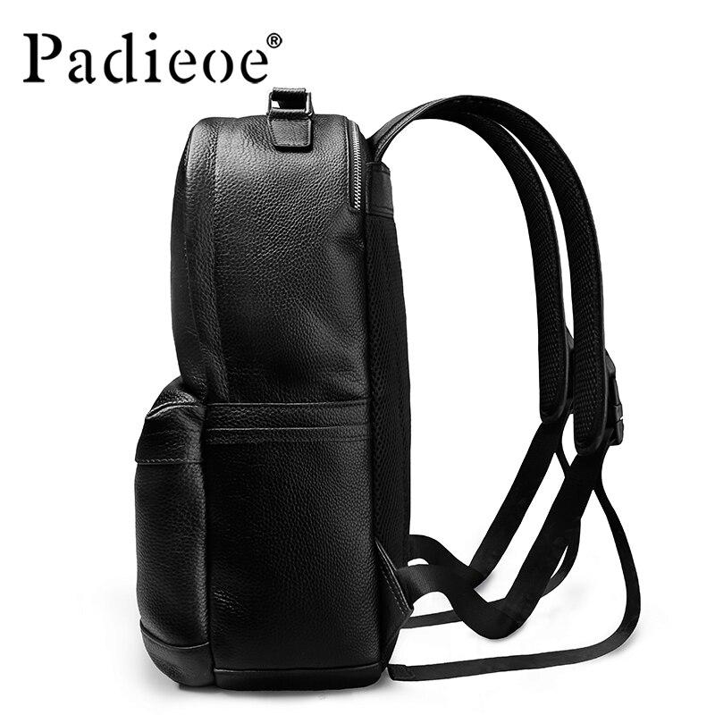 Padieoe роскошный мужской рюкзак из натуральной коровьей кожи, прочный кожаный большой рюкзак, модные однотонные черные мужские школьные рюкз... - 4