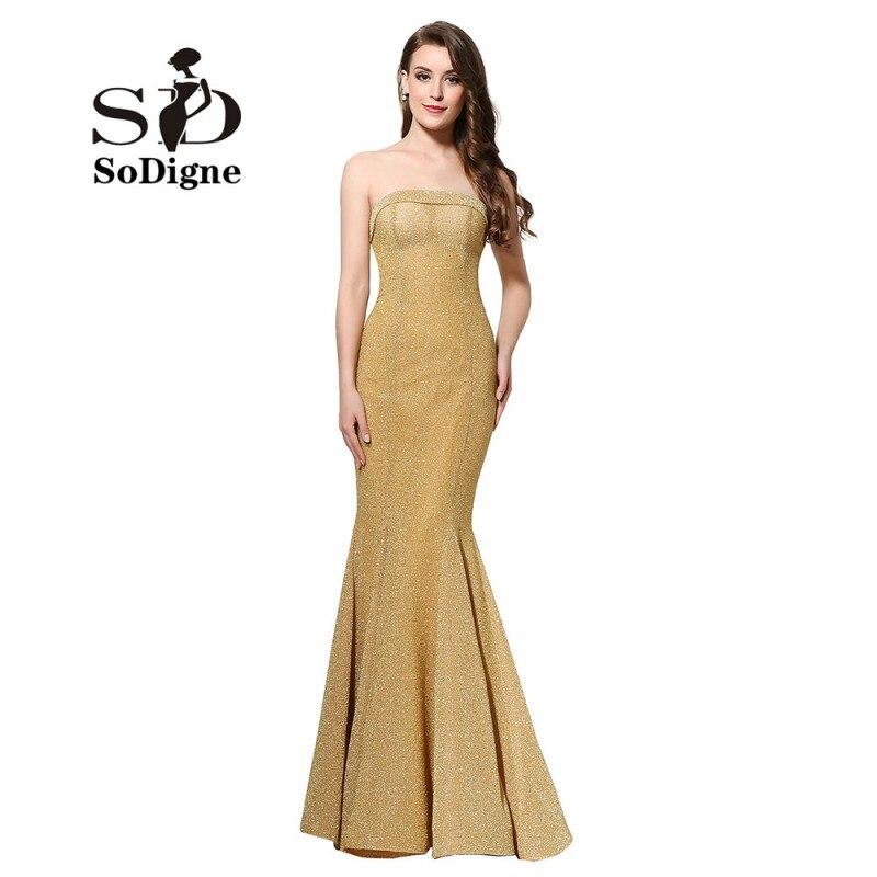 Buy Cheap Evening Dress 2017 SoDigne Sexy Slim Lange Abendkleider Golden Mermaid Prom Dress Backless Party Gown
